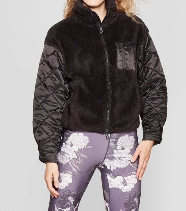 JoyLab Sherpa Full Zip Jacket With Quilted Sleeves