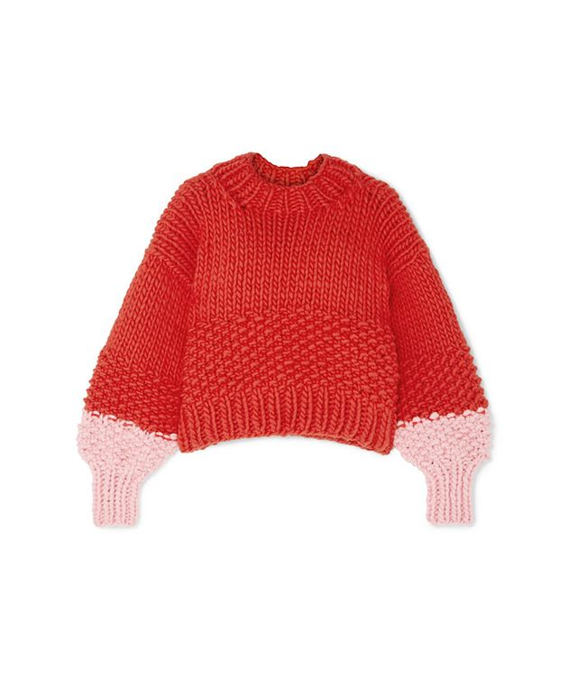 The Knitter The Zip Zap Two-Tone Wool Sweater