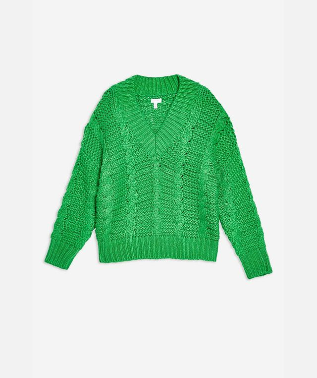 Topshop Heavy Cable Knitted Jumper