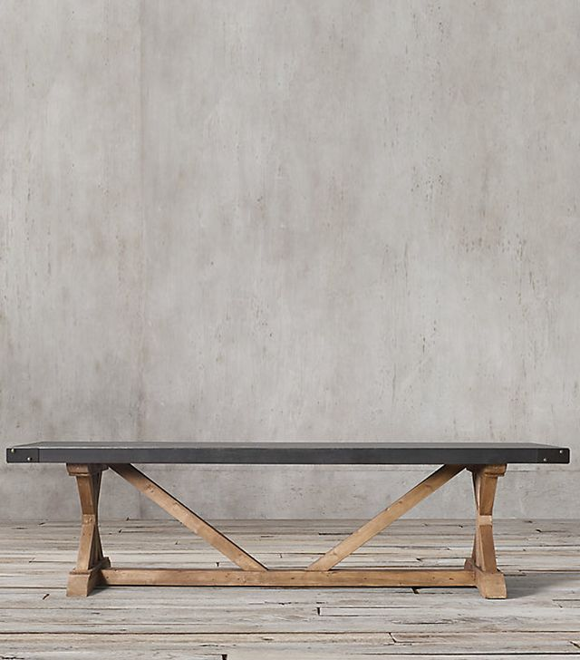 Restoration Hardware Salvaged Wood and Concrete X-Base Rectangular Dining Table