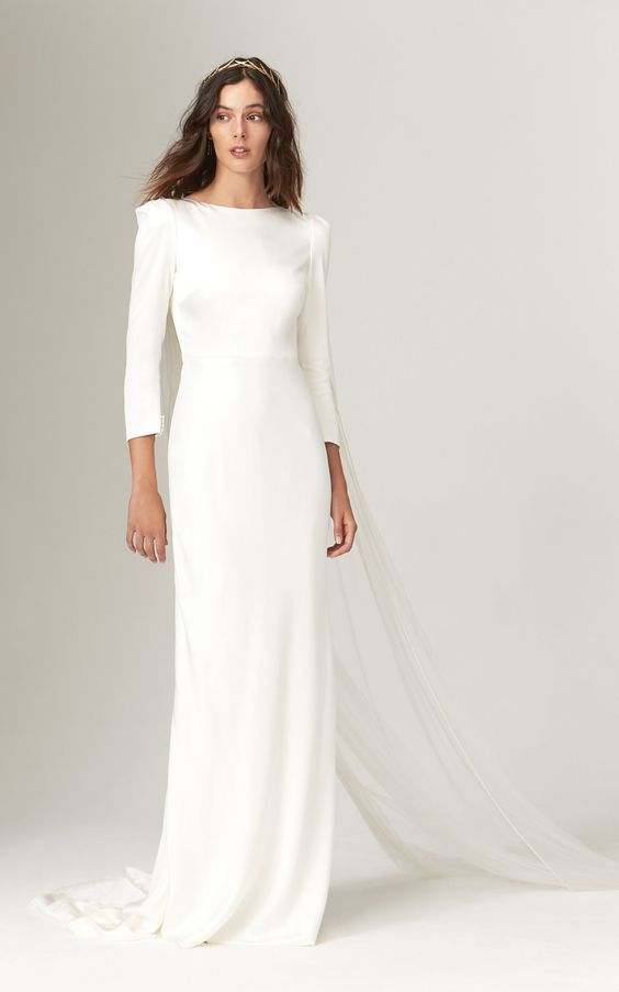 Winter Wedding Dress.20 Simple Winter Wedding Dresses For The Unfussy Bride Who What Wear