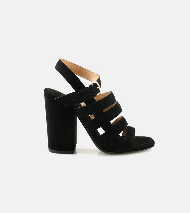 Alumnae NYC Black Suede Multi-Strap Block Heels