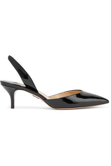 Paul Andrew Rhea Patent Leather Sling-Back Pumps