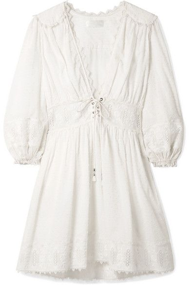 Zimmermann Iris Lace-Trim Swiss-Dot Cotton Dress