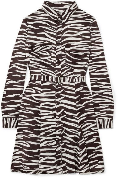 Ganni Zebra-Priont Stretch-Silk Satin Mini Dress