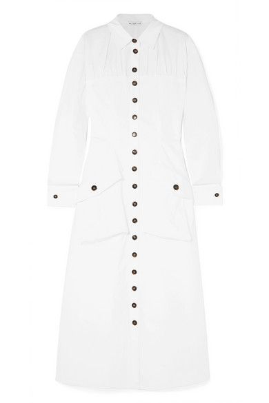 Rejina Pyo Miller Button-Detailed Cotton-Blend Poplin Midi Dress