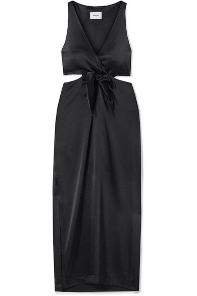 Nanushka Regina Tie-Front Cutout Satin Midi Dress