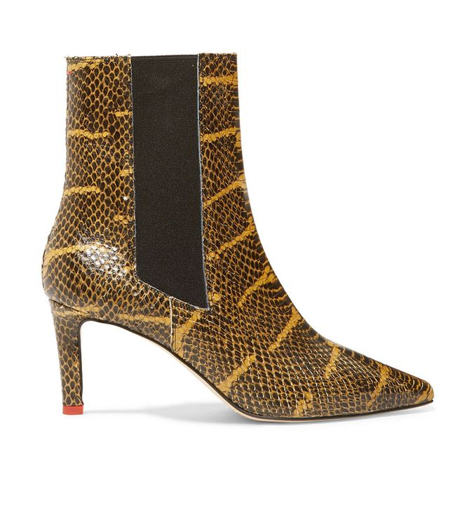 Aeyde Leila Snake-Effect Leather Ankle Boots