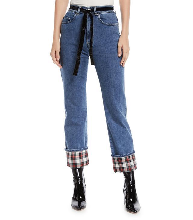 Isa Arfen Straight-Leg Cropped Jeans With Tartan Details