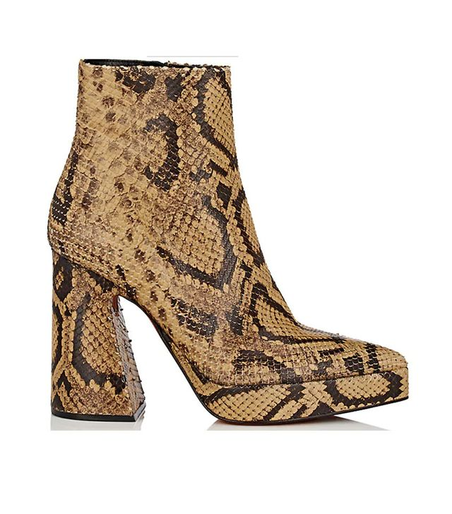 Proenza Schouler Block-Heel Stamped-Leather Ankle Boots