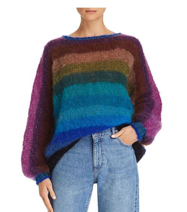 Rose Carmine Rainbow Sweater