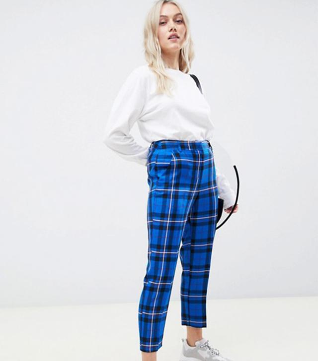 ASOS Design Petite Ultimate Blue Check Ankle Grazer Pants