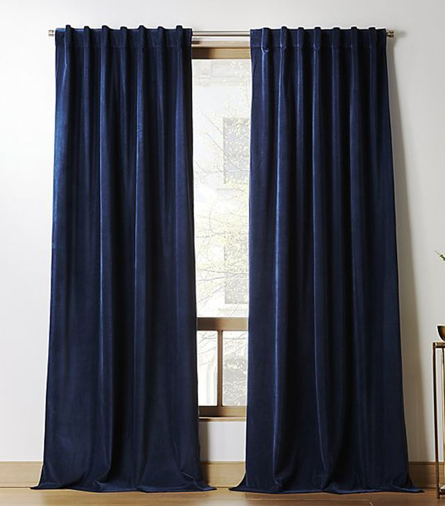 "CB2 Velvet Navy Curtain Panel 48""x84"""