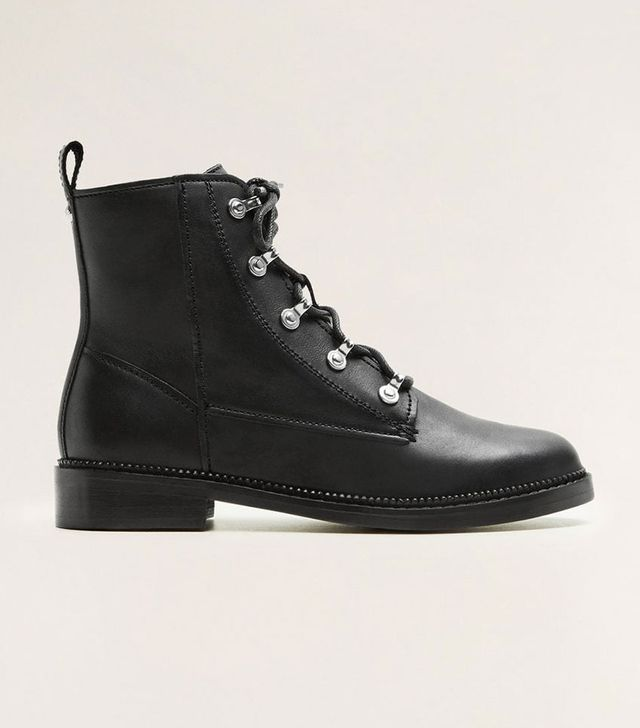Mango Lace-Up Leather Boots