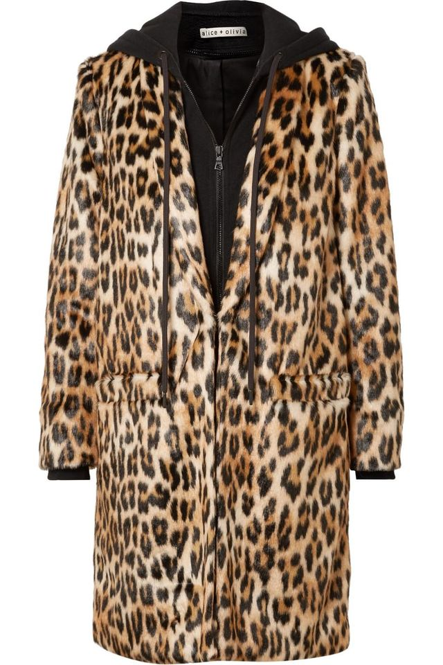 Alice + Olivia Kylie Leopard-Print Faux Fur and Cotton-Jersey Coat