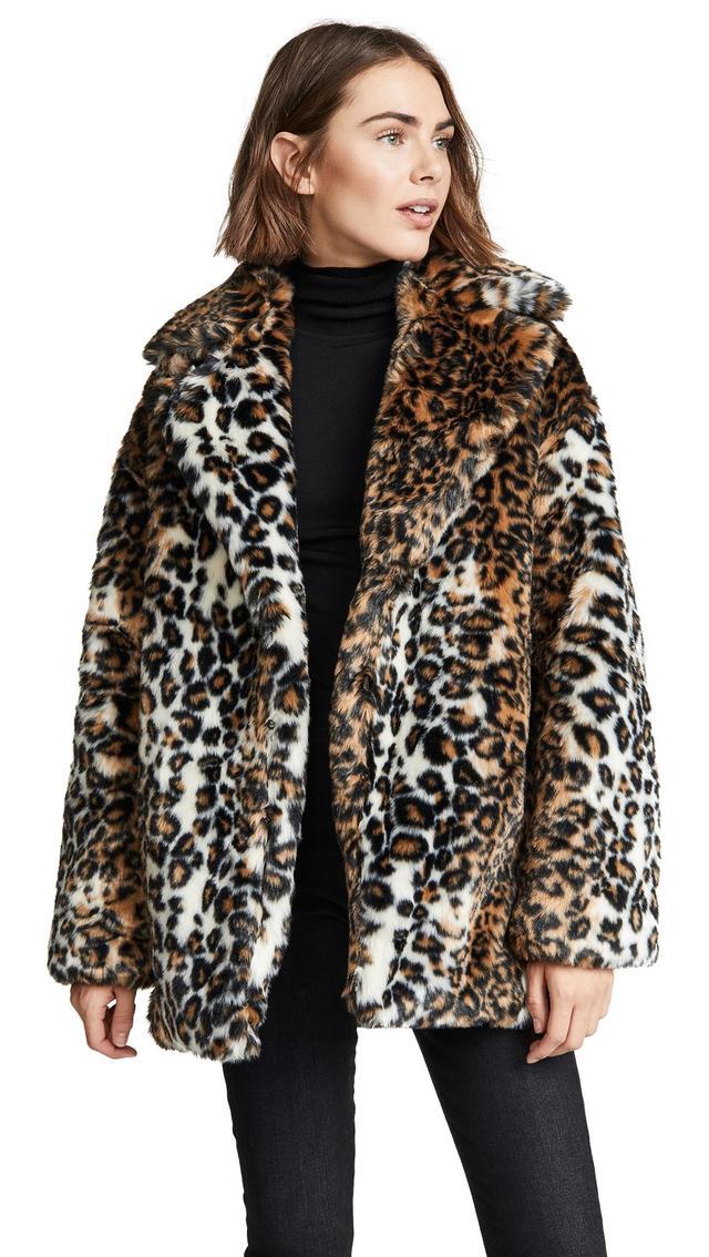 Pam & Gela Leopard Faux Fur Coat