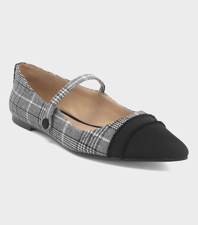 Who What Wear Nellie Plaid Mary Jane Flats