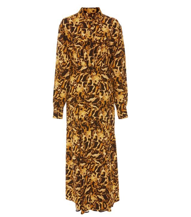 Victoria Beckham Animal Print Pleated Crepe Shirtdress
