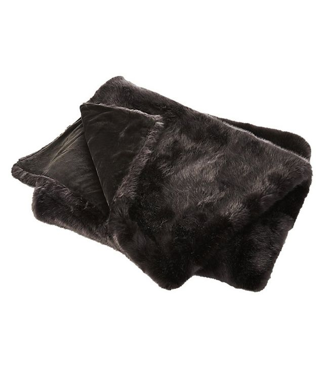 CB2 Premium Gray Faux Fur Throw