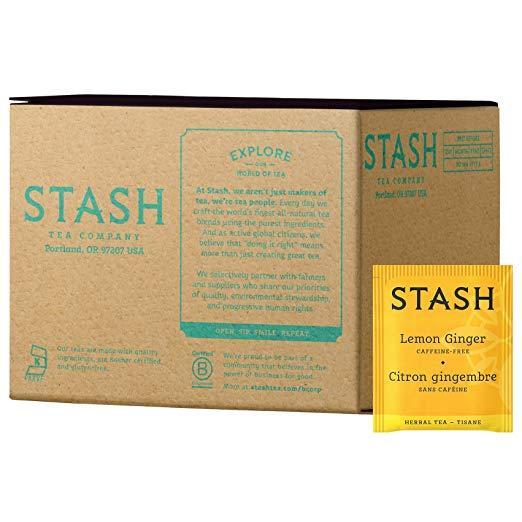 Stash Tea Lemon Ginger Herbal Tea 100 Count Box