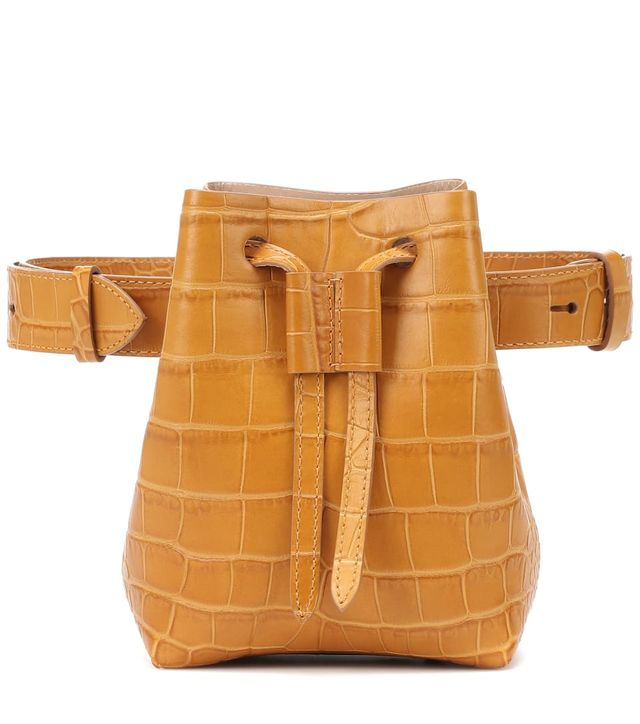 Nanushka Minee Croc-Embossed Leather Belt Bag
