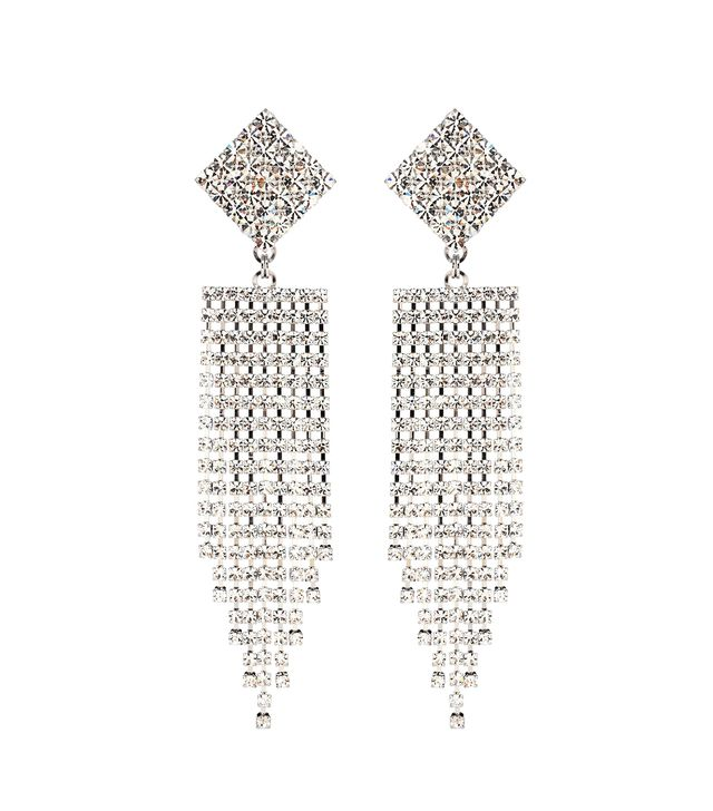 Alessandra Rich Crystal Waterfall Clip-On Earrings