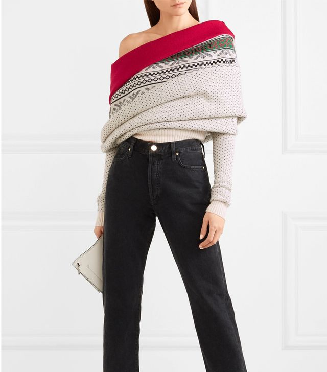 Y/Project Fair Isle Off-the-Shoulder Merino Wool Sweater
