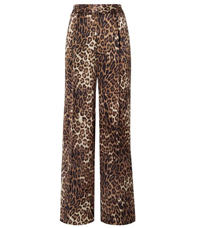 Nili Lotan Vivianna Leopard-Print Silk-Satin Wide-Leg Pants