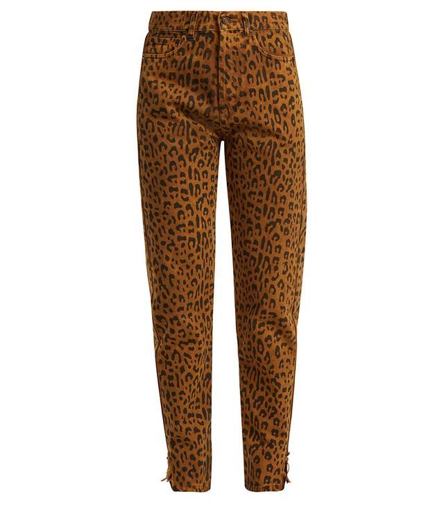 Saint Laurent Leopard Print Skinny Denim Jeans