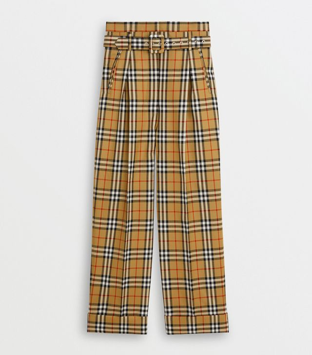 Burberry Vintage Check Wool High-Waisted Trousers