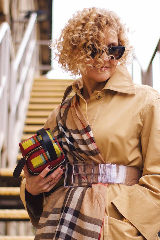 Burberry vintage check: a plaid scarf belted into a trench coat