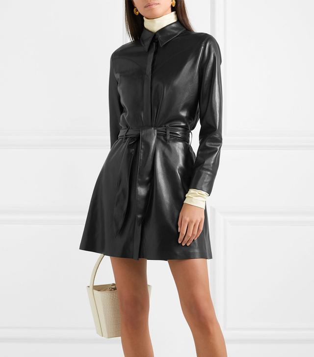 Nanushka Gisele Belted Faux Leather Mini Dress