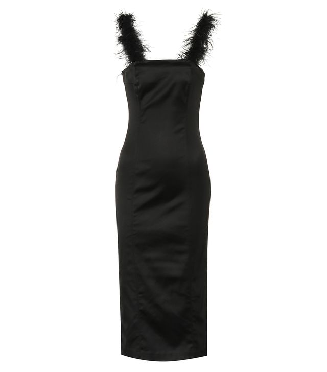 Staud Romy Feather-Trimmed Midi Dress