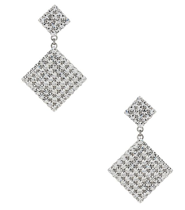 Alessandra Rich Double Diamond Crystal Earrings