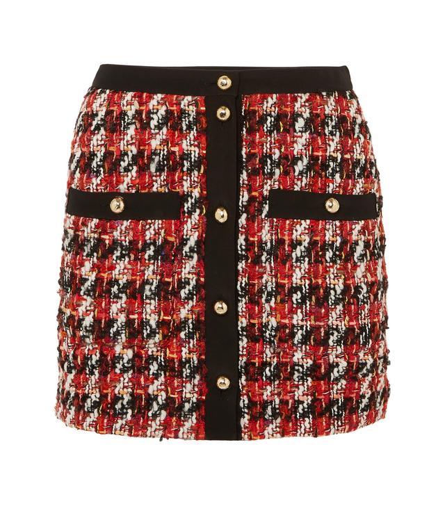 Alessandra Rich Button-Embellished Bouclé-Tweed Mini Skirt