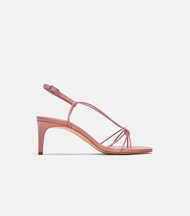 Zara Leather High Heeled Strappy Sandals