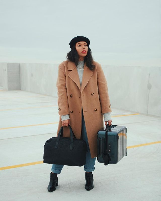 Cool airport outfits with coats