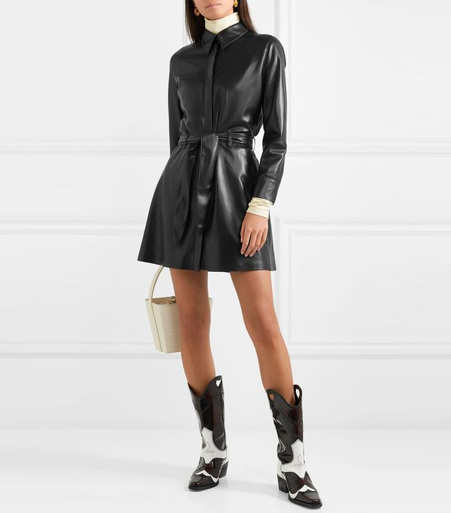 Nanushka Gisele Belted Faux Leather Mini Dress