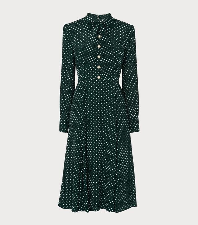 LK Bennett Green Polka Dot Dress
