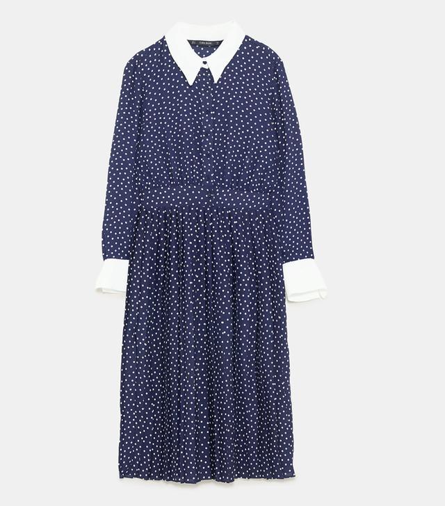 Zara Contrasting Polka Dress