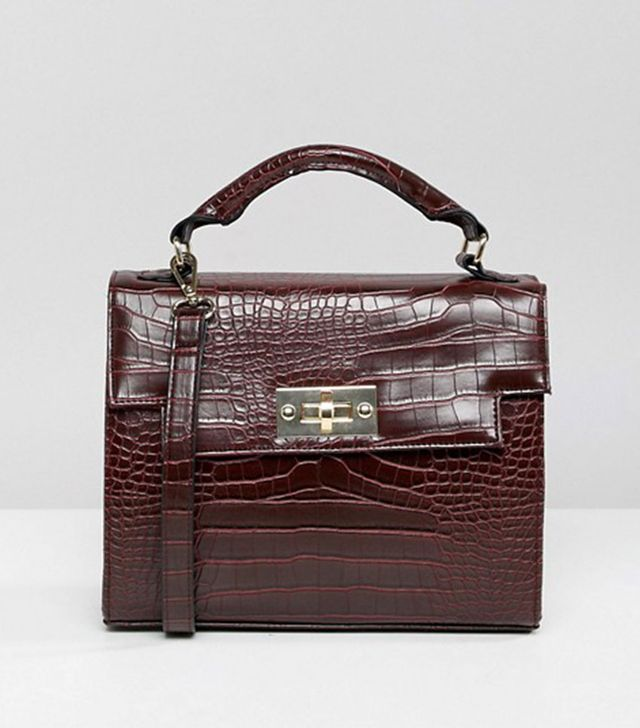 ASOS Design Croc Twistlock Top-Handle Bag