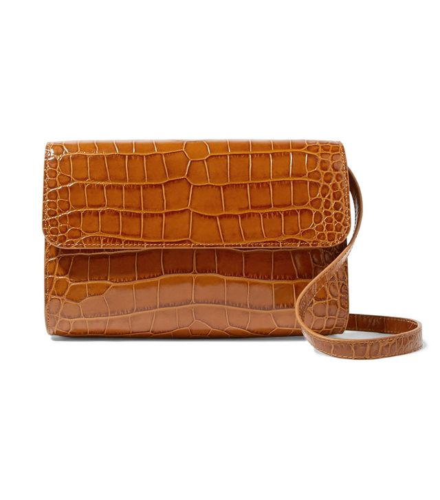 By Far Cross-Over Croc-Effect Leather Shoulder Bag
