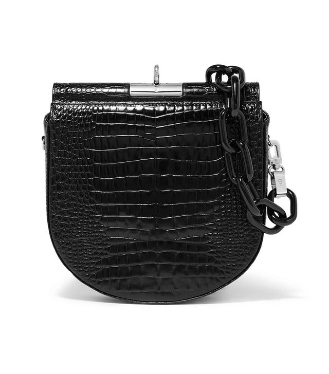 Gu De Demi Lune Croc-Effect Leather Shoulder Bag