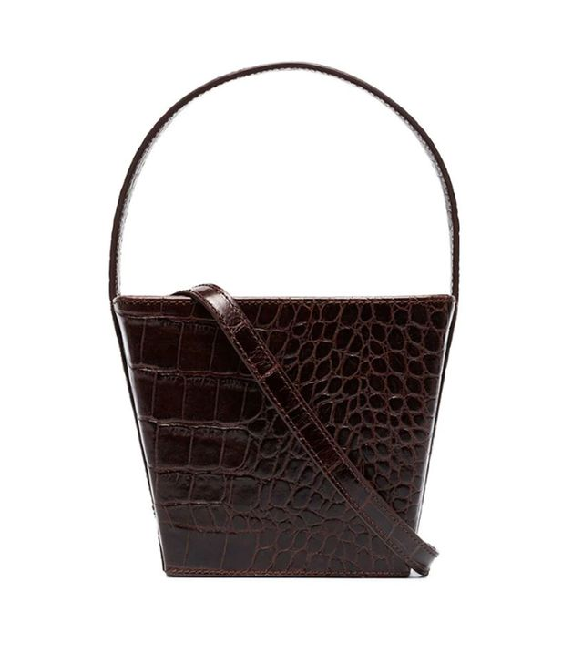 Staud Edie Faux Croc Bucket Bag