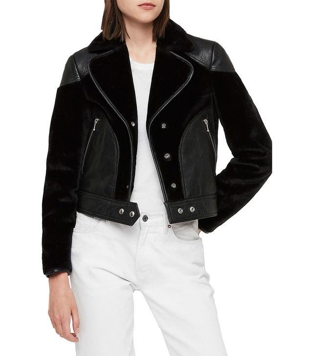 AllSaints Zola Leather & Faux Fur Jacket