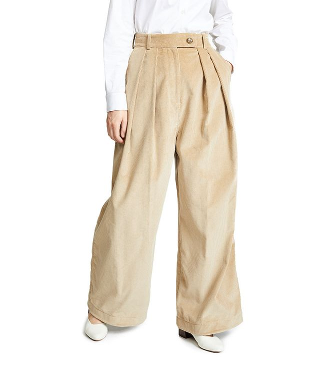 A.W.A.K.E. Wide Leg Double Pleat Pants