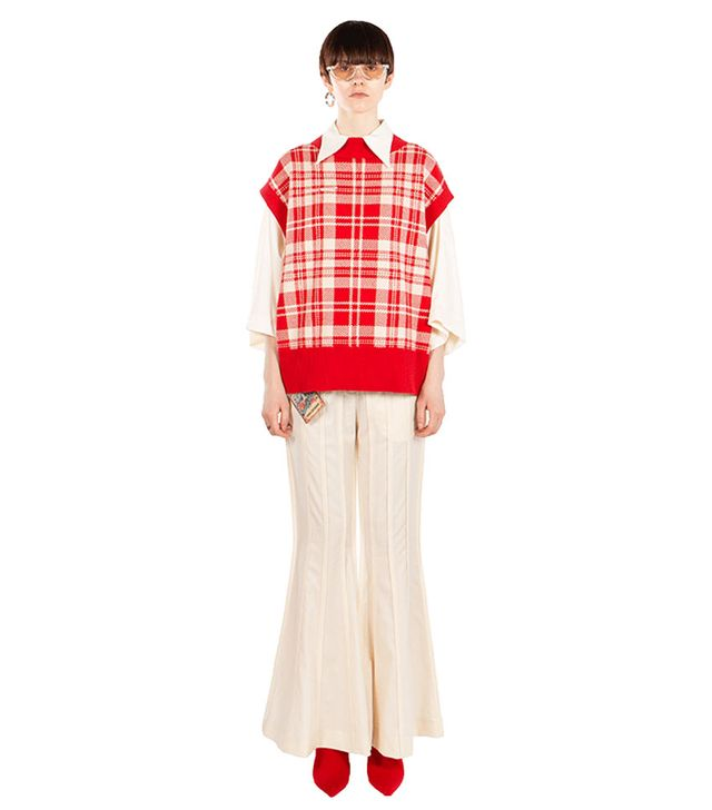 Social-Work Red Plaid Vest Sweater