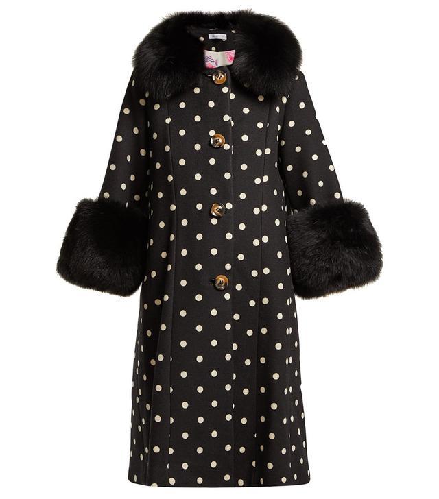 Saks Potts Yvonne Single Breasted Polka Dot Wool Coat