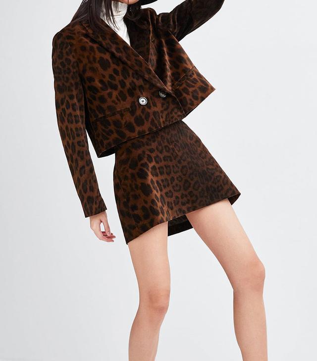 Zara Animal Print Velvet Mini Skirt