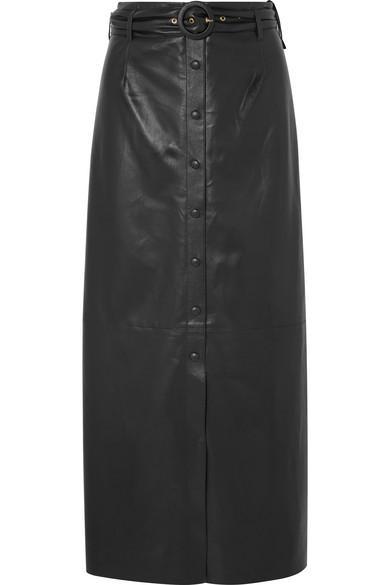 Nanushka Ayona Belted Faux Leather Maxi Skirt